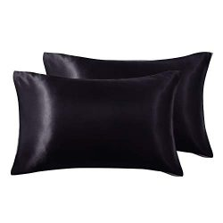 Love's cabin Silk Satin Pillowcase for Hair and Skin (Black, 20×36 inches) Slip King  ...