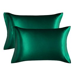Bedsure Satin King Size Pillow Cases Set of 2, Dark Green, 20×40 inches – Pillowcase  ...