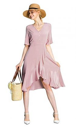 LilySilk Silk Wrap Dress for Women 100 Pure Silk Long Tunic Vintage Ruffle Trim V Neck Prom Summ ...