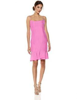 MILLY Women's Washed Stretch Silk Slim Mandy Dress with Ruffle Hem, Pink, 4