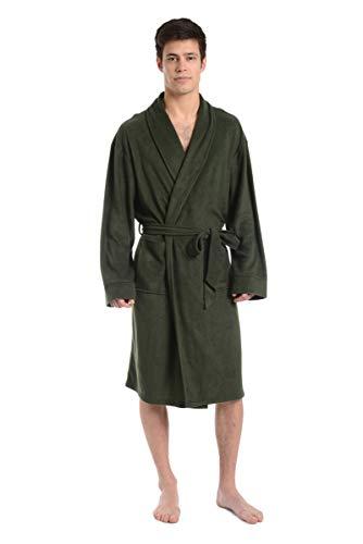 Cherokee Men Cozy Plush Robe Army, Green, Medium