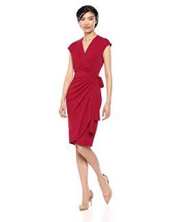 Lark & Ro Women's Classic Cap Sleeve Wrap Dress, Scarlet, Large