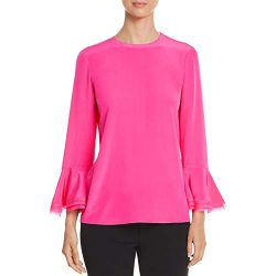 Tory Burch Womens Ruffled Silk Blouse