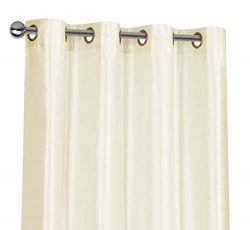 Regal Home Collections 2 Pack Semi Sheer Faux Silk Grommet Curtains – Assorted Colors (Ivory)