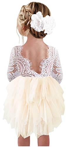 2Bunnies Girl Peony Lace Back A-Line Tiered Tutu Tulle Flower Girl Dress (Ivory 3/4 Sleeve Short ...