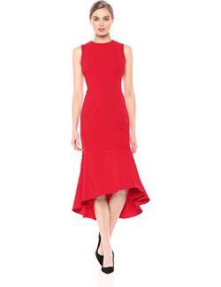 Calvin Klein Women's Sleevless High Low Flounce Hem Dress, red, 4