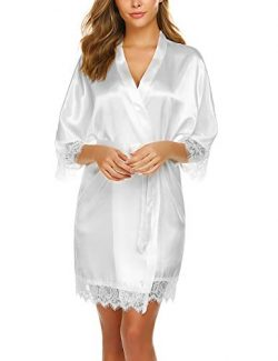 Avidlove Women Lace Trim Bridesmaid Kimono Robes Satin Nightwear White Medium