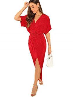 ROMWE Women's Twist Front Deep V Neck Split Hem Glitter Party Cocktail Dress Red Medium
