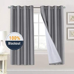 H.VERSAILTEX 100% Blackout Curtains 72 Inches Long for Nursery, Faux Silk Thermal Insulated Grey ...