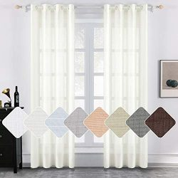 MIULEE 2 Panels Natural Linen Long Semi Sheer Window Curtains Elegant Solid Ivory Drapes Grommet ...