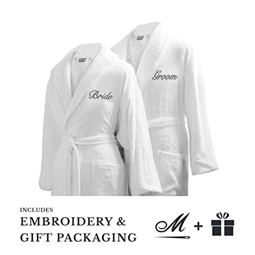 Luxor Linens Bride & Groom Terry Cloth Bathrobe Set -100% Egyptian Cotton-Unisex/One Size Fi ...