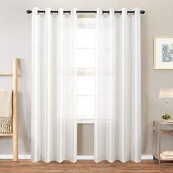 Faux Silk Curtains White 95 inches Long for Bedroom Dupioni Light Reducing Window Curtain Panels ...