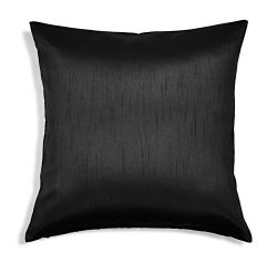 Aiking Home Solid Faux Silk Euro Sham/Pillow Cover, Zipper Closure, 26 by 26 Inches, Black