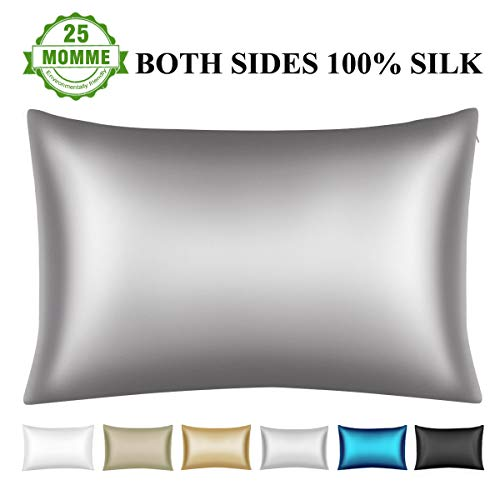 Wonwo Silk Pillowcase, 100% Natural Mulberry King Size Bed Pillow case for Hair and Skin with Hi ...