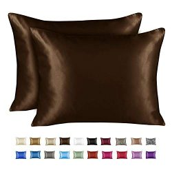 ShopBedding Luxury Satin Pillowcase for Hair – Queen Satin Pillowcase with Zipper, Brown ( ...