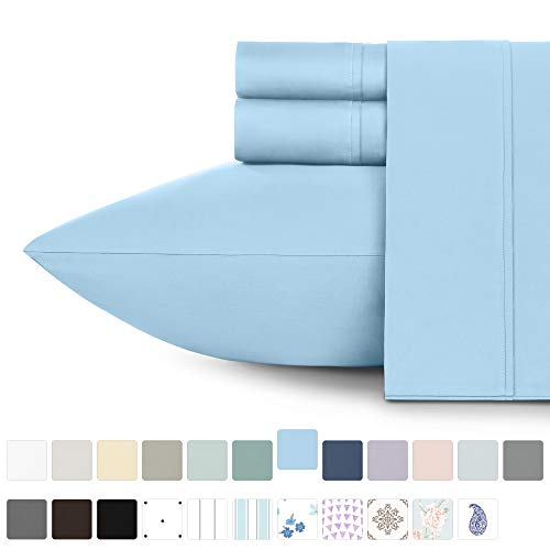 California Design Den 400 Thread Count 100% Cotton Sheet Set, Blue King Sheets 4 Piece Set, Long ...