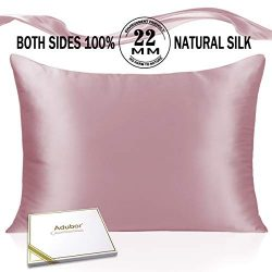 Adubor Silk Pillowcase for Hair and Skin 22 Momme 100% Natural Mulberry Silk Pillow Covers Stand ...