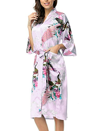 CHENXI Womens Silk Satin Long Bridesmaids Kimono Robes, Light Purple L