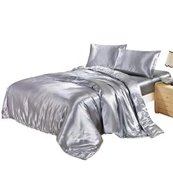 HOMIGOO 3PCS Silk Like Fabric Summer Cool Bedding Set Solid Comforter Cover King Grey