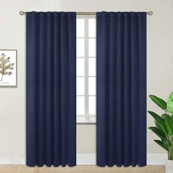 BGment Rod Pocket and Back Tab Blackout Curtains for Bedroom – Thermal Insulated Room Dark ...