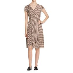 Tory Burch Womens Kelsey Asymmetric Snap Closure Wrap Dress