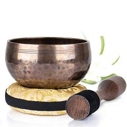 Silent Mind ~ Tibetan Singing Bowl Set ~ Beaten Antique in Glossy ~ With Dual Surface Mallet and ...