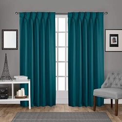 Exclusive Home Curtains Sateen Twill Woven Blackout Pinch Pleat Curtain Panel Pair, 84″ Le ...