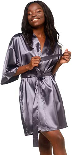 Women's Pure Color Satin Short Kimono Bridesmaids Lingerie Robes (Charcoal, Large)