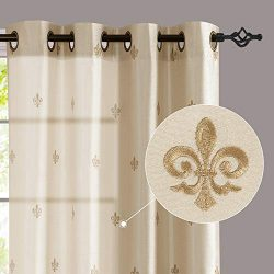 jinchan Flur De Lis Embroidered Curtains for Bedroom 95 inches Long Faux Silk Semi Sheers Embroi ...