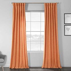 HPD Half Price Drapes SSCS-180706-96 Faux Dupioni Shantung Silk Curtain, 50 X 96, Monarch Orange