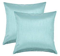 Aiking Home 24×24 Inches Faux Silk Square European Shams, Zipper Closure, Aqua (Set of 2)