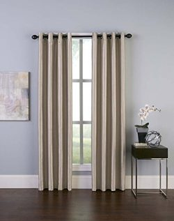 Curtainworks Malta Faux Silk Grommet Curtain Panel, 50 by 144″, Sand