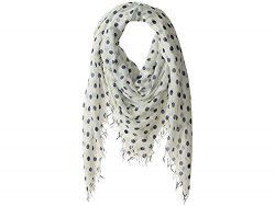 Chan Luu Cashmere Silk Large Polka Dots Scarf Medieval Blue One Size