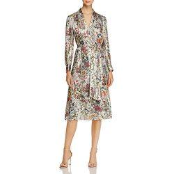 Tory Burch Womens Vanessa Silk Metallic Special Occasion Dress