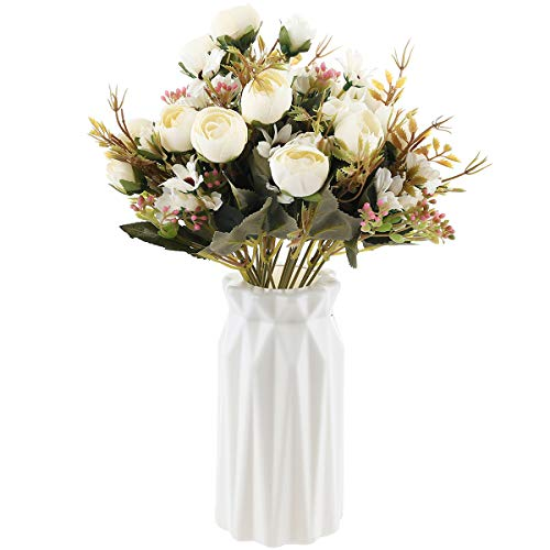 UltraOutlet 4 Packs White Artificial Peonies Silk Flowers with Vase Faked Peony Flowers DIY Bouq ...