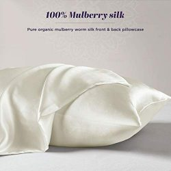 100% Organic Mulberry Silk Pillowcase for Hair and Skin – Satin Silk Pillow Cases with Hid ...