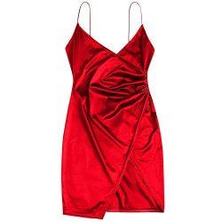 ZAFUL Women's Sexy Mini Party Club Dress Spaghetti Strap V Neck Crossover Slip Short Bodyc ...