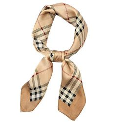 Xinqiao Women Fashion Square Neck Scarf Hair Wrapping Vintage Plaid Neckerchief (#924 Khaki)