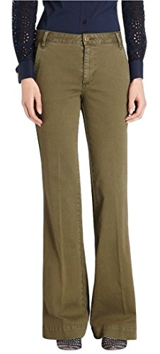 Tory Burch High Rise Flare Leg Twill Trouser Jeans Pants Green Ivy 25