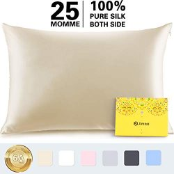Silk Pillowcase for Hair and Skin,100% Pure Mulberry, 25 Momme 900 Thread Count with Hidden Zipp ...