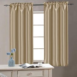 Vangao Rod Poket Curtains 40 inch Length Faux Silk Taupe French Door Panel Satin Privacy French  ...