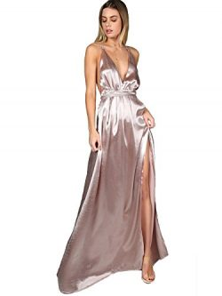SheIn Women's Sexy Satin Deep V Neck Backless Maxi Party Evening Dress Pink Medium
