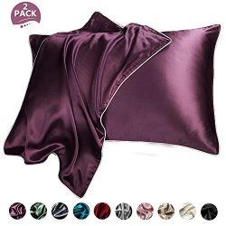 NEKOCAT Silk Pillowcase Cover for Hair and Skin 2 Pack Queen Size 20″x30″ One Side 1 ...