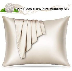Villsure 100% Silk Pillowcase for Hair and Skin, 22 Momme Natural Mulberry Both Sides Pure Silk  ...