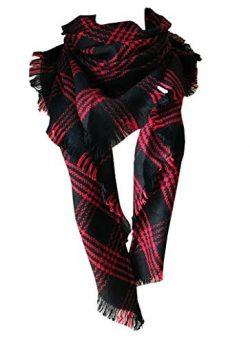 Wander Agio Womens Warm Scarf Triangle Shawls Large Scarves Stripe Plaid Fichu Red Black 17