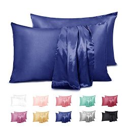 Duerer 2 Pack Silky Satin Pillowcases for Hair and Skin Standard/Queen/King Size Pillow Case wit ...