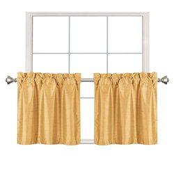 Home Queen Faux Silk Rod Pocket Tier Curtains for Small Window, Short Room Darkening Kitchen Cur ...