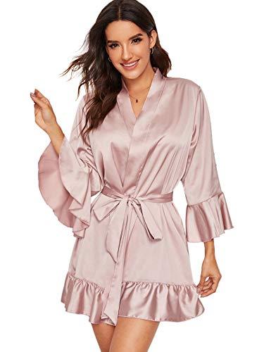 Floerns Women's Casual Ruffle Hem Belted Satin Lingerie Robe Pink S