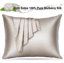Villsure 100% Silk Pillowcase for Hair and Skin, 22 Momme Natural Mulberry Both Sides Hypoallerg ...