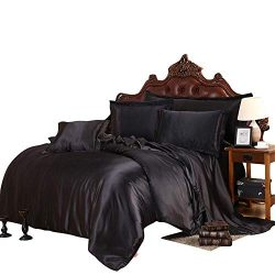 SLEEPIFIC Ultra Soft Luxurious Silk Like Satin 7-Piece Comforter Set (Comforter + Flat Sheet + F ...